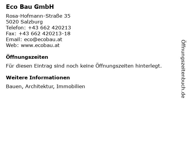Eco Bau GmbH in Salzburg: Adresse und Öffnungszeiten