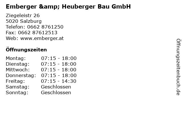 Emberger & Heuberger Bau GmbH in Salzburg: Adresse und Öffnungszeiten