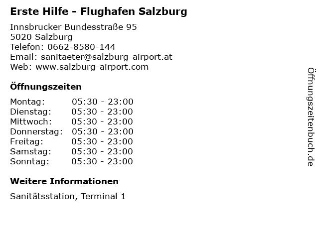 Erste Hilfe - Flughafen Salzburg in Salzburg: Adresse und Öffnungszeiten
