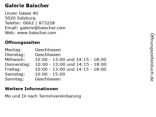 GALERIE BAISCHER in Salzburg: Adresse und Öffnungszeiten