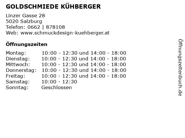 GOLDSCHMIEDE KÜHBERGER in Salzburg: Adresse und Öffnungszeiten
