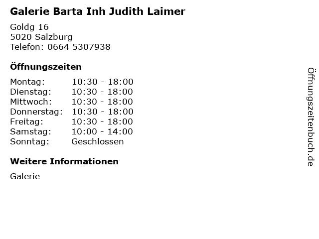 Galerie Barta Inh Judith Laimer in Salzburg: Adresse und Öffnungszeiten