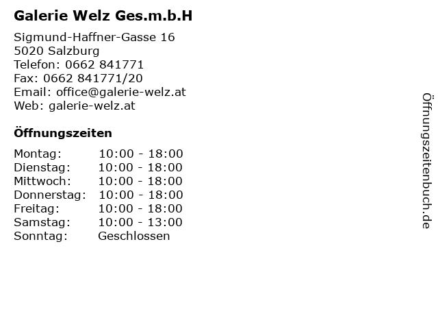Galerie Welz Ges.m.b.H in Salzburg: Adresse und Öffnungszeiten