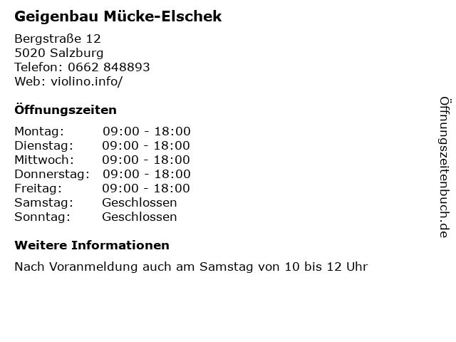 Geigenbau Mücke-Elschek in Salzburg: Adresse und Öffnungszeiten