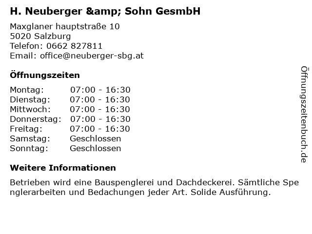 H. Neuberger & Sohn GesmbH in Salzburg: Adresse und Öffnungszeiten