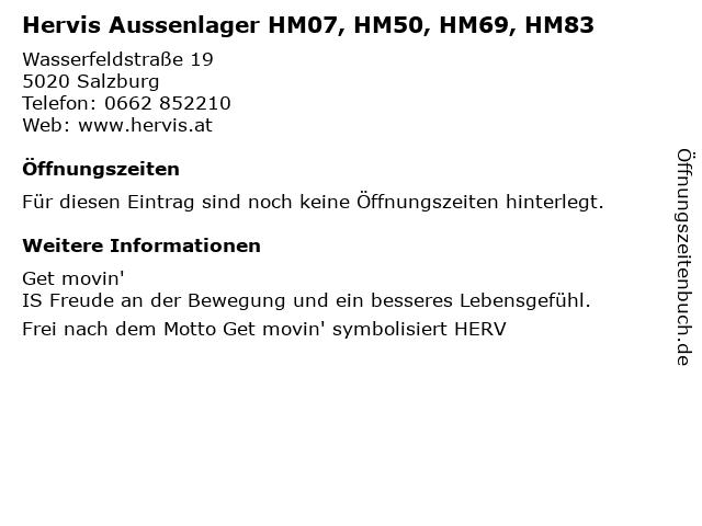 Hervis Aussenlager HM07, HM50, HM69, HM83 in Salzburg: Adresse und Öffnungszeiten