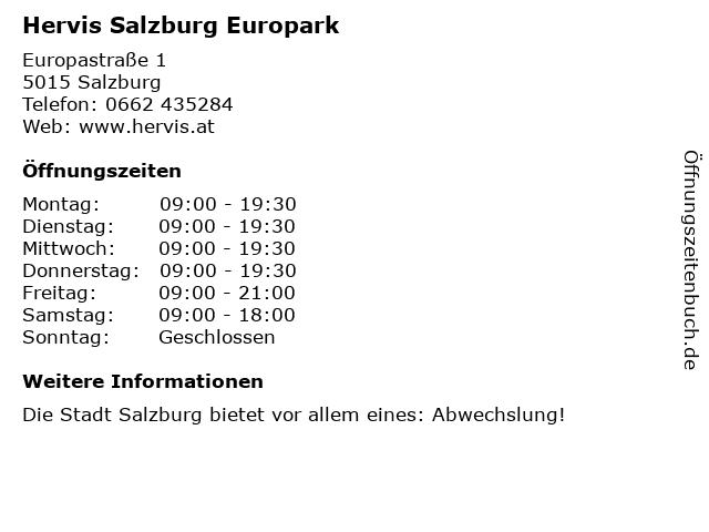 Hervis Salzburg Europark in Salzburg: Adresse und Öffnungszeiten