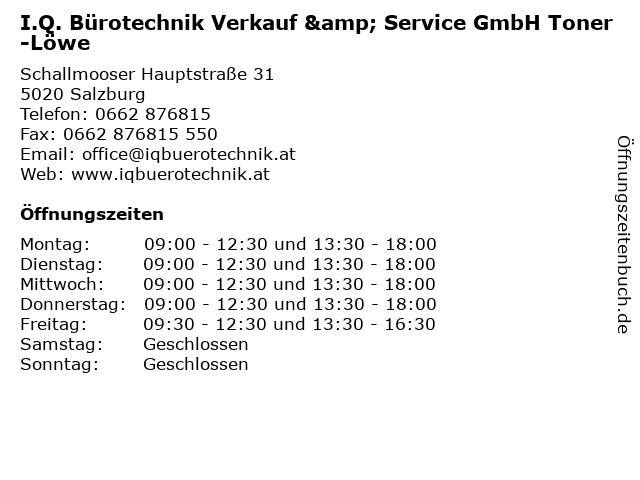 I.Q. Bürotechnik Verkauf & Service GmbH Toner-Löwe in Salzburg: Adresse und Öffnungszeiten