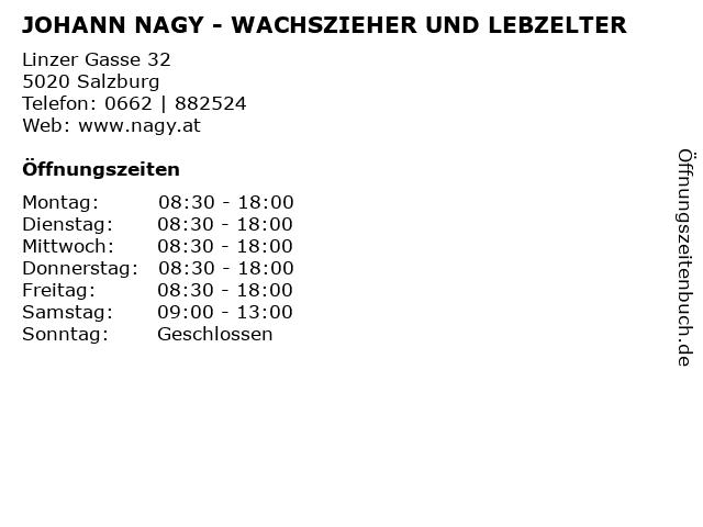 JOHANN NAGY - WACHSZIEHER UND LEBZELTER in Salzburg: Adresse und Öffnungszeiten