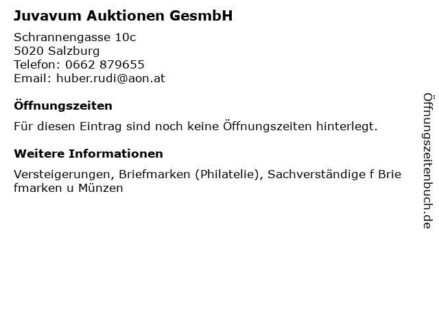 Juvavum Auktionen GesmbH in Salzburg: Adresse und Öffnungszeiten