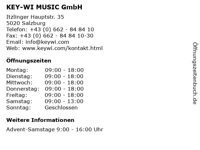KEY-WI MUSIC GmbH in Salzburg: Adresse und Öffnungszeiten