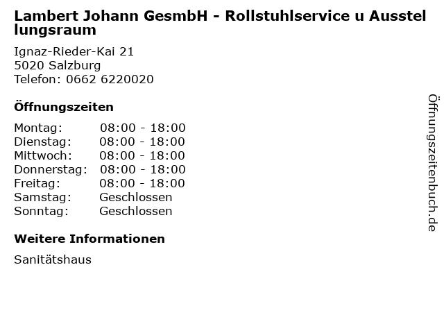 Lambert Johann GesmbH - Rollstuhlservice u Ausstellungsraum in Salzburg: Adresse und Öffnungszeiten