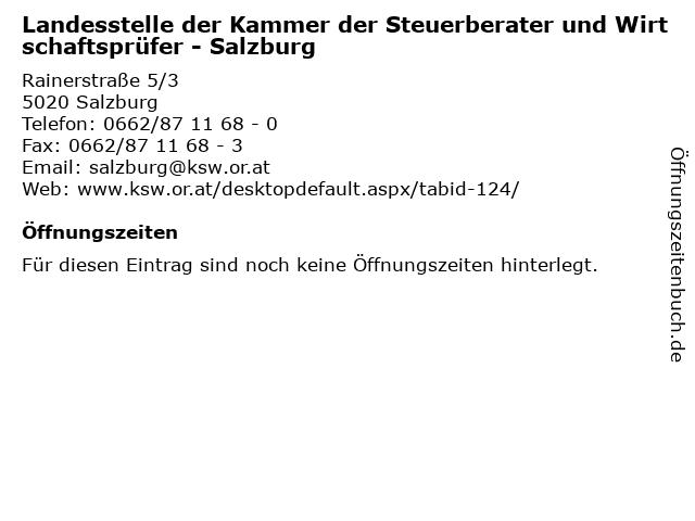 Landesstelle der Kammer der Steuerberater und Wirtschaftsprüfer - Salzburg in Salzburg: Adresse und Öffnungszeiten