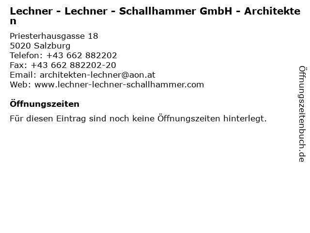 Lechner - Lechner - Schallhammer GmbH - Architekten in Salzburg: Adresse und Öffnungszeiten