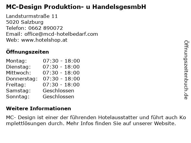 MC-Design Produktion- u HandelsgesmbH in Salzburg: Adresse und Öffnungszeiten