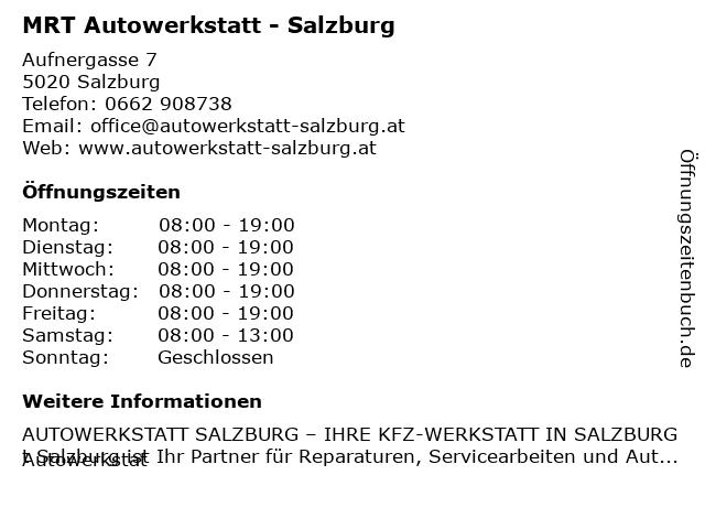 MRT - KFZ Fachbetrieb KG in Salzburg: Adresse und Öffnungszeiten