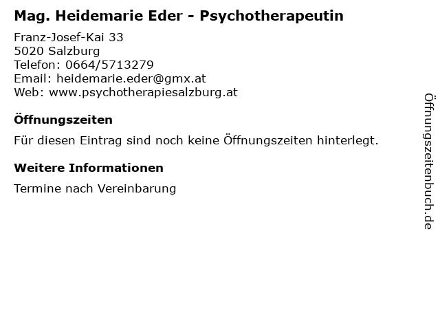 Mag. Heidemarie Eder - Psychotherapeutin in Salzburg: Adresse und Öffnungszeiten