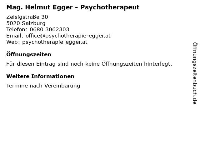Mag. Helmut Egger - Psychotherapeut in Salzburg: Adresse und Öffnungszeiten