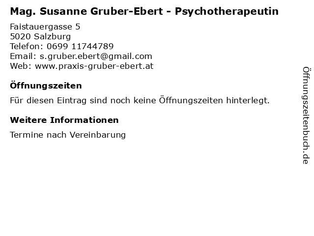 Mag. Susanne Gruber-Ebert - Psychotherapeutin in Salzburg: Adresse und Öffnungszeiten