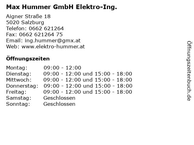 Max Hummer GmbH Elektro-Ing. in Salzburg: Adresse und Öffnungszeiten