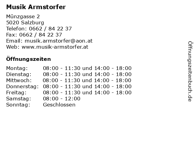 Musik Armstorfer in Salzburg: Adresse und Öffnungszeiten