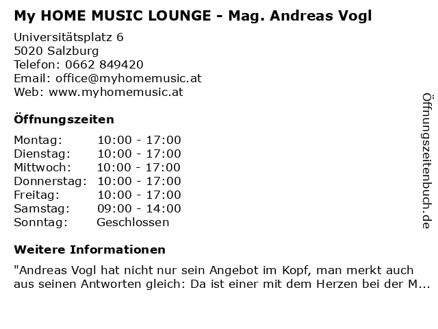 My HOME MUSIC LOUNGE - Mag. Andreas Vogl in Salzburg: Adresse und Öffnungszeiten