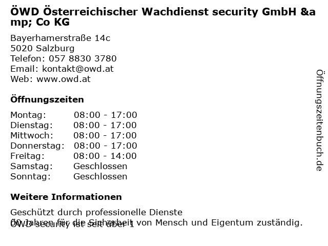 ÖWD Österreichischer Wachdienst security GmbH & Co KG in Salzburg: Adresse und Öffnungszeiten
