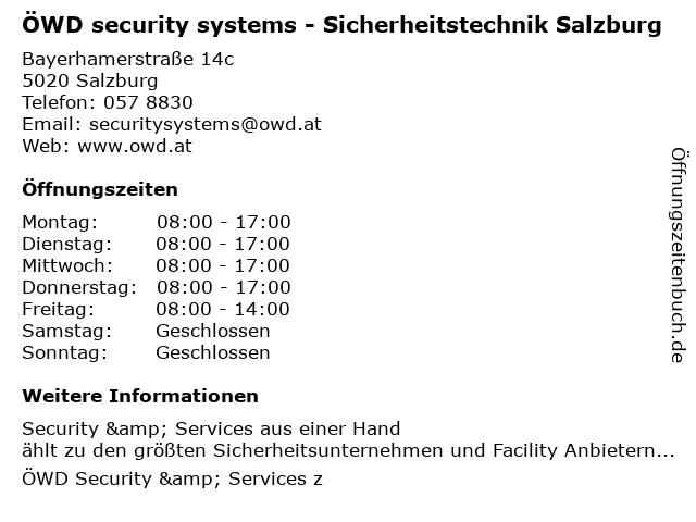 ÖWD security systems GmbH & Co KG in Salzburg: Adresse und Öffnungszeiten