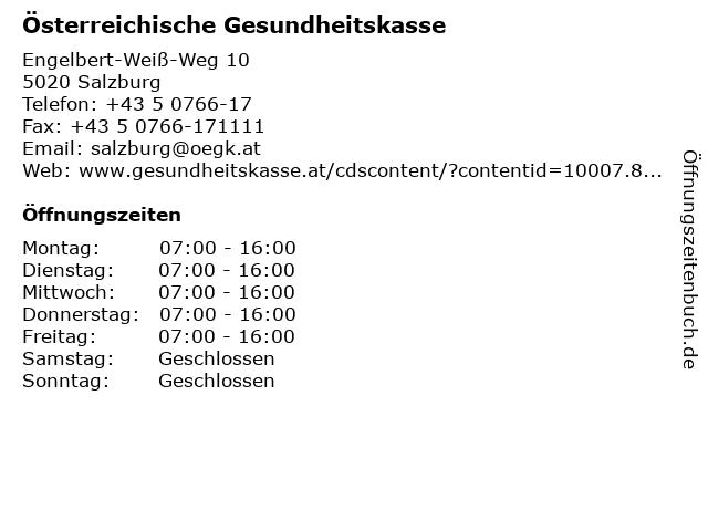 Österreichische Gesundheitskasse in Salzburg: Adresse und Öffnungszeiten
