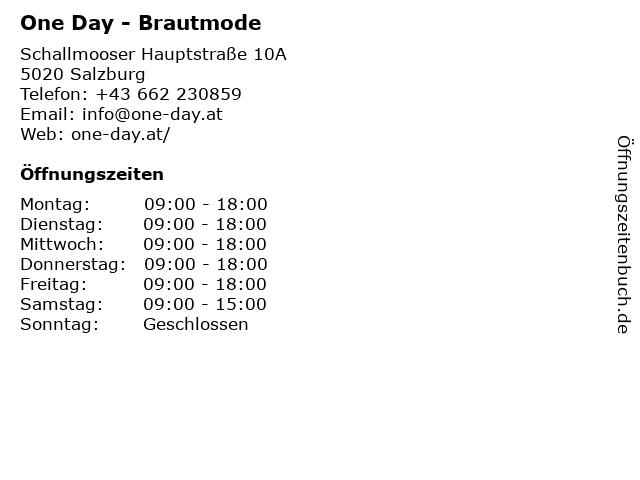 One Day - Brautmode in Salzburg: Adresse und Öffnungszeiten
