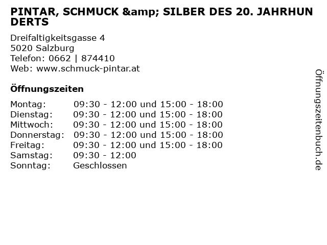 PINTAR, SCHMUCK & SILBER DES 20. JAHRHUNDERTS in Salzburg: Adresse und Öffnungszeiten