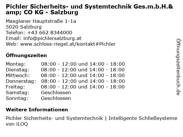 Pichler Sicherheits- und Systemtechnik GesmbH & Co KG in Salzburg: Adresse und Öffnungszeiten