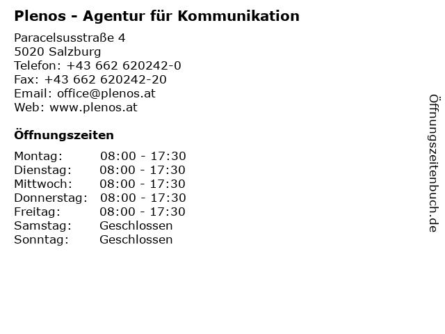 Plenos - Agentur für Kommunikation in Salzburg: Adresse und Öffnungszeiten