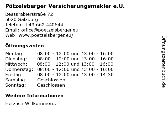 Pötzelsberger Versicherungsmakler e.U. in Salzburg: Adresse und Öffnungszeiten