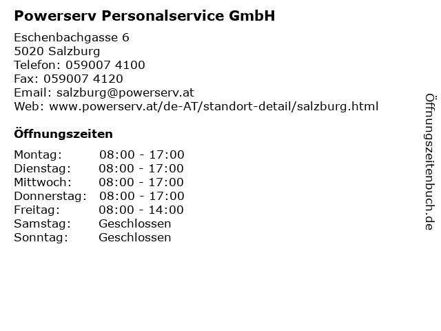 Powerserv Personalservice GmbH in Salzburg: Adresse und Öffnungszeiten