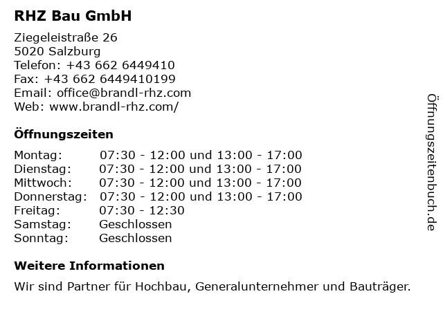 RHZ Bau GmbH in Salzburg: Adresse und Öffnungszeiten