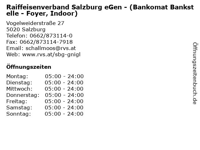 Raiffeisenverband Salzburg eGen - (Bankomat Bankstelle - Foyer, Indoor) in Salzburg: Adresse und Öffnungszeiten