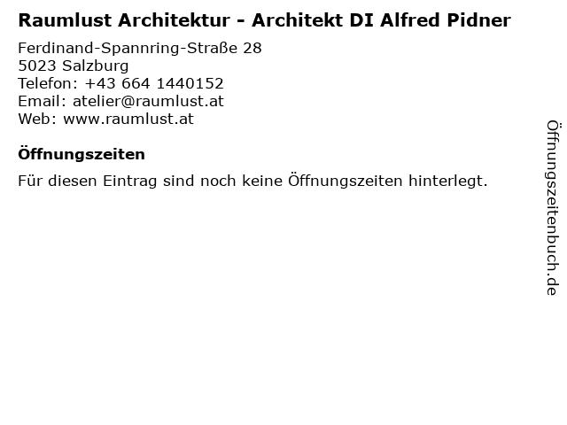 Raumlust Architektur - Architekt DI Alfred Pidner in Salzburg: Adresse und Öffnungszeiten