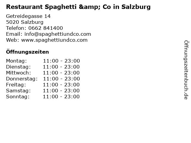 Restaurant Spaghetti & Co in Salzburg in Salzburg: Adresse und Öffnungszeiten