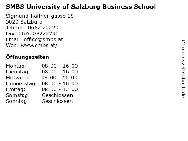 SMBS University of Salzburg Business School in Salzburg: Adresse und Öffnungszeiten