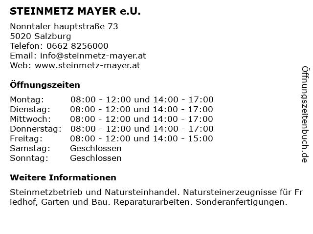 STEINMETZ MAYER e.U. in Salzburg: Adresse und Öffnungszeiten