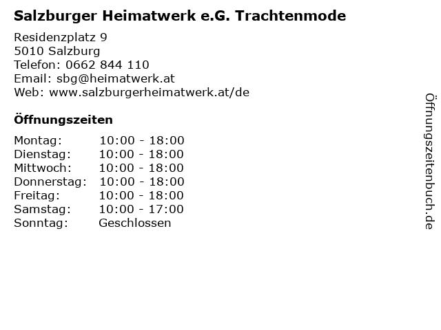 Salzburger Heimatwerk e.G. Trachtenmode in Salzburg: Adresse und Öffnungszeiten