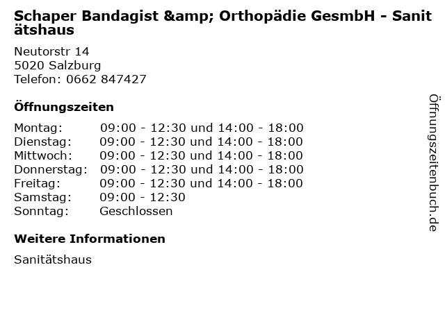Schaper Bandagist & Orthopädie GesmbH - Sanitätshaus in Salzburg: Adresse und Öffnungszeiten