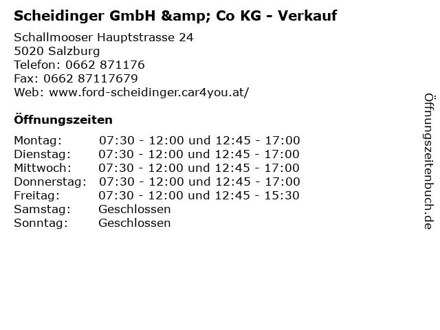 Scheidinger GmbH & Co KG - Verkauf in Salzburg: Adresse und Öffnungszeiten