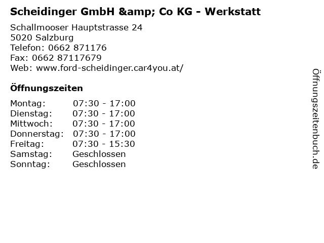 Scheidinger GmbH & Co KG - Werkstatt in Salzburg: Adresse und Öffnungszeiten
