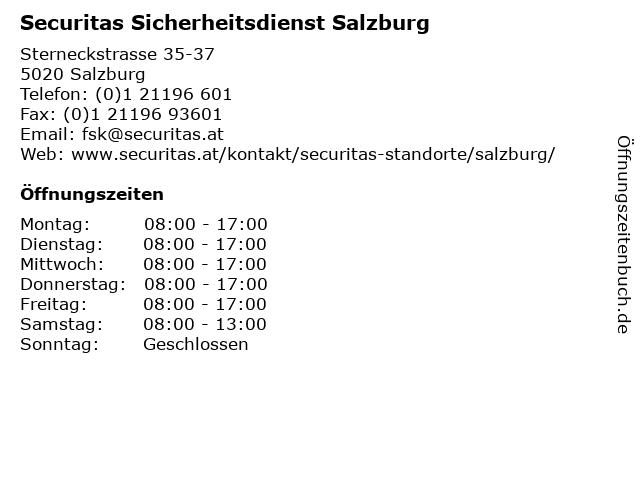Securitas Sicherheitsdienst Salzburg in Salzburg: Adresse und Öffnungszeiten