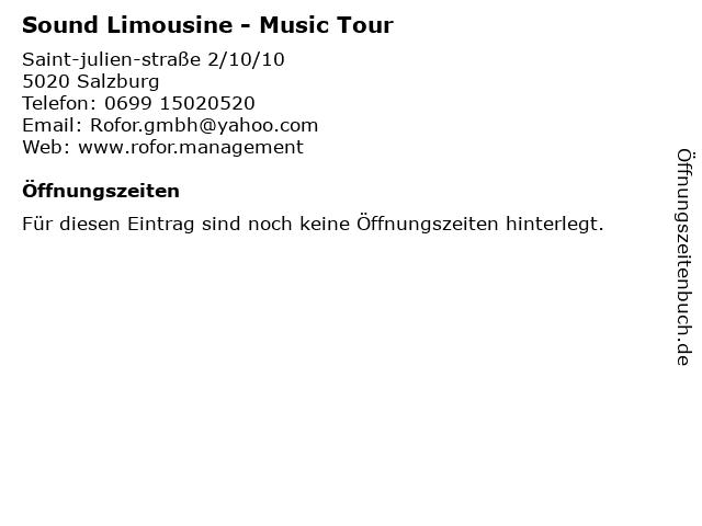 Sound Limousine - Music Tour in Salzburg: Adresse und Öffnungszeiten