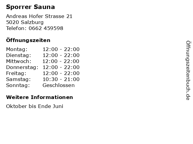 Sporrer Sauna in Salzburg: Adresse und Öffnungszeiten