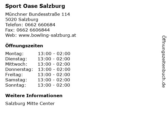 Sport Oase Salzburg in Salzburg: Adresse und Öffnungszeiten