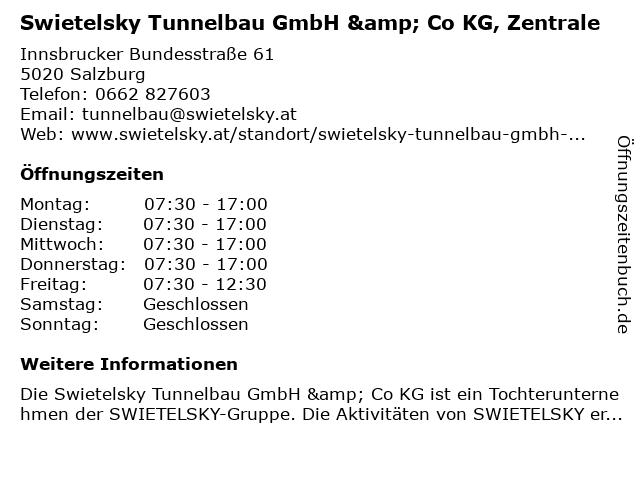 Swietelsky Tunnelbau GmbH & Co KG, Zentrale in Salzburg: Adresse und Öffnungszeiten